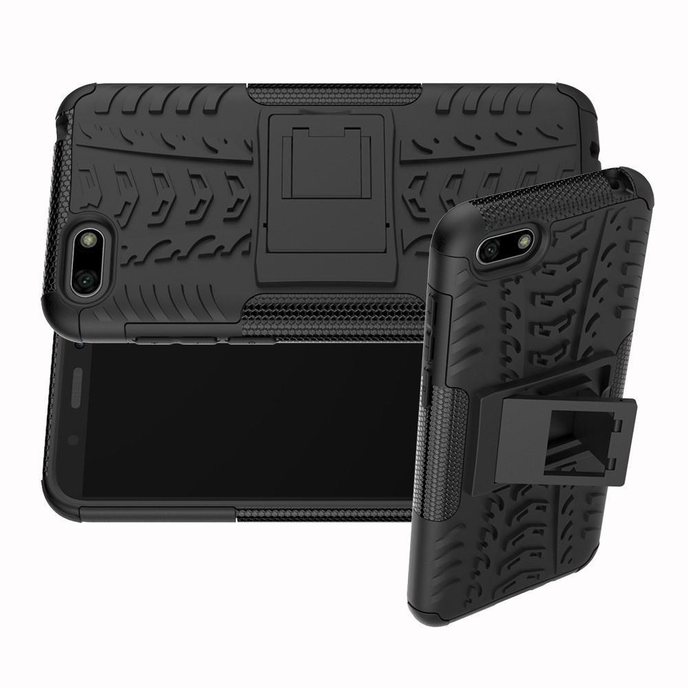 Двухкомпонентный Противоскользящий Гибридный Противоударный Чехол для Huawei Y5 2018 / Y5 Prime 2018 / Honor 7A с Подставкой Черный