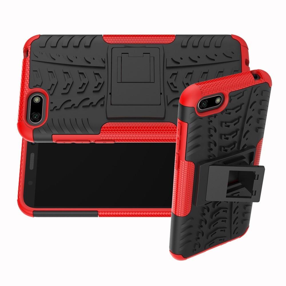 Двухкомпонентный Противоскользящий Гибридный Противоударный Чехол для Huawei Y5 2018 / Y5 Prime 2018 / Honor 7A с Подставкой Красный