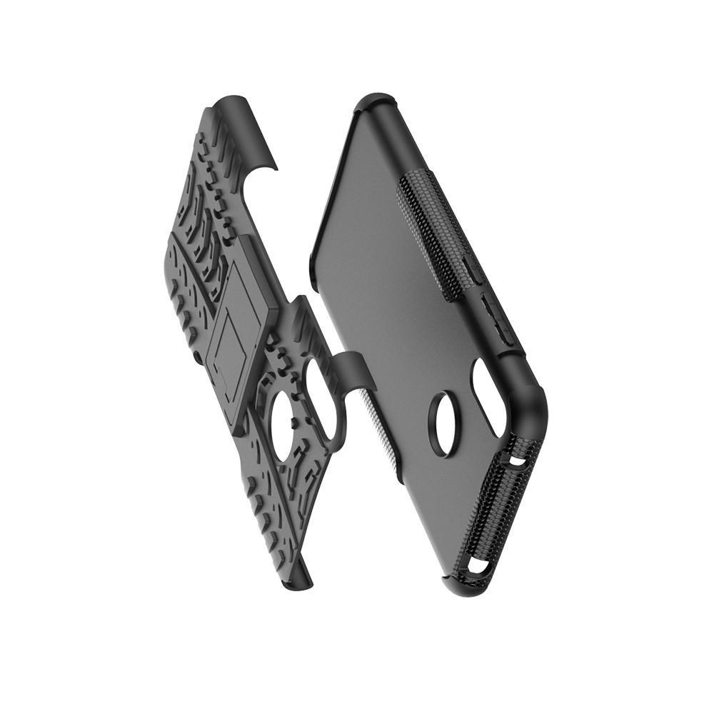 Двухкомпонентный Противоскользящий Гибридный Противоударный Чехол для Huawei Y7 / Y7 Pro 2019 с Подставкой Черный