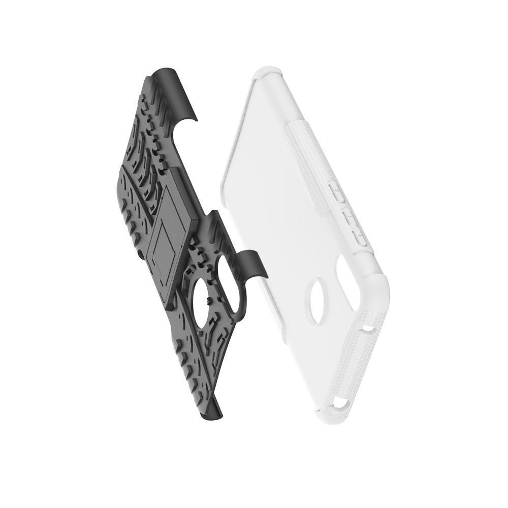 Двухкомпонентный Противоскользящий Гибридный Противоударный Чехол для Huawei Y7 / Y7 Pro 2019 с Подставкой Белый
