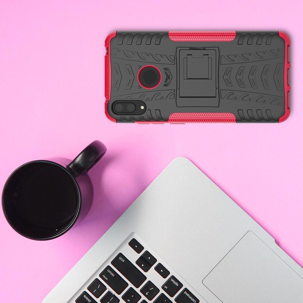 Двухкомпонентный Противоскользящий Гибридный Противоударный Чехол для Huawei Y7 / Y7 Pro 2019 с Подставкой Розовый