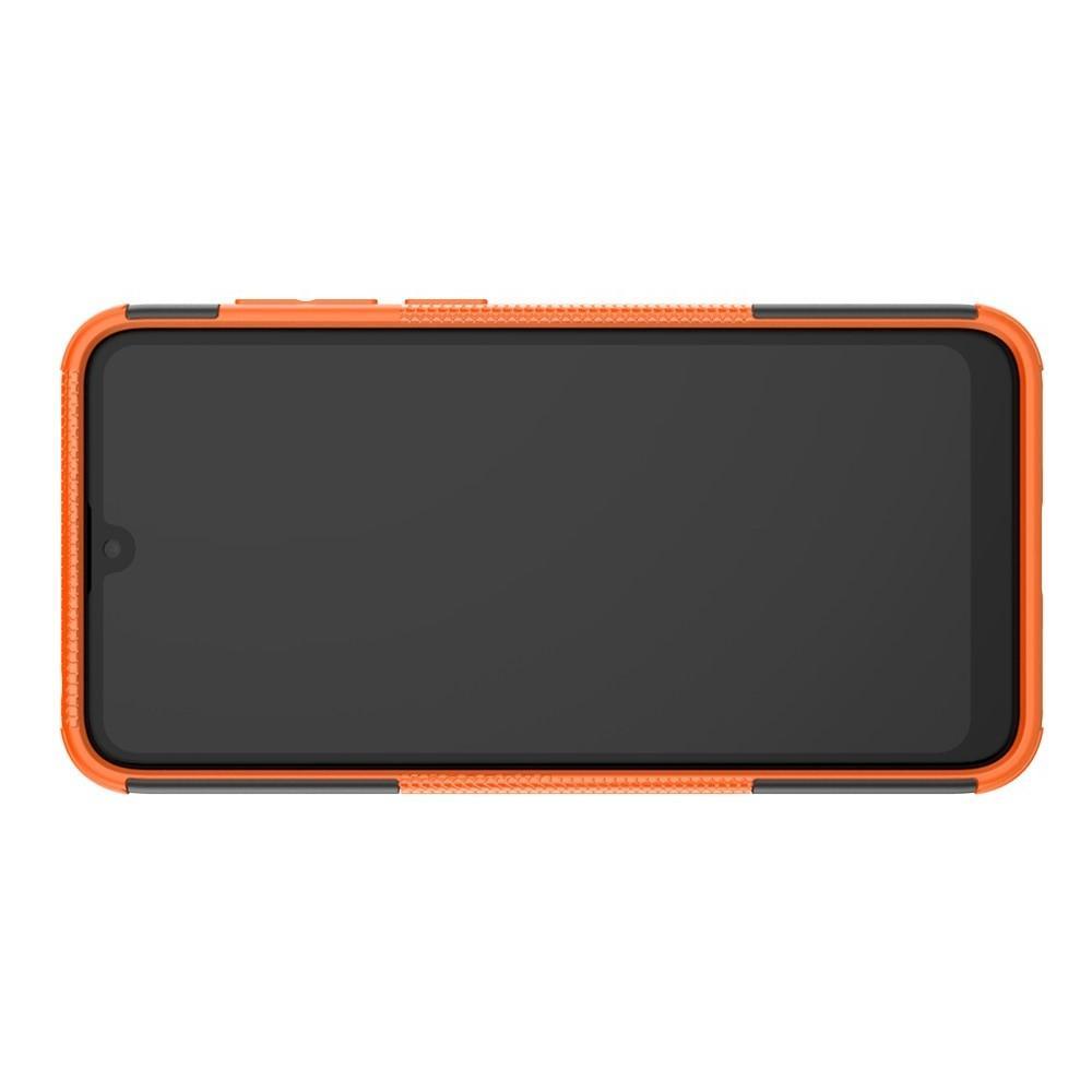 Двухкомпонентный Противоскользящий Гибридный Противоударный Чехол для Huawei Y7 / Y7 Pro 2019 с Подставкой Оранжевый
