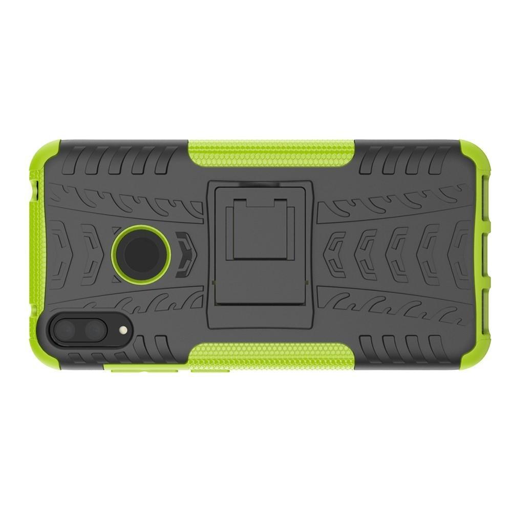 Двухкомпонентный Противоскользящий Гибридный Противоударный Чехол для Huawei Y7 / Y7 Pro 2019 с Подставкой Зеленый
