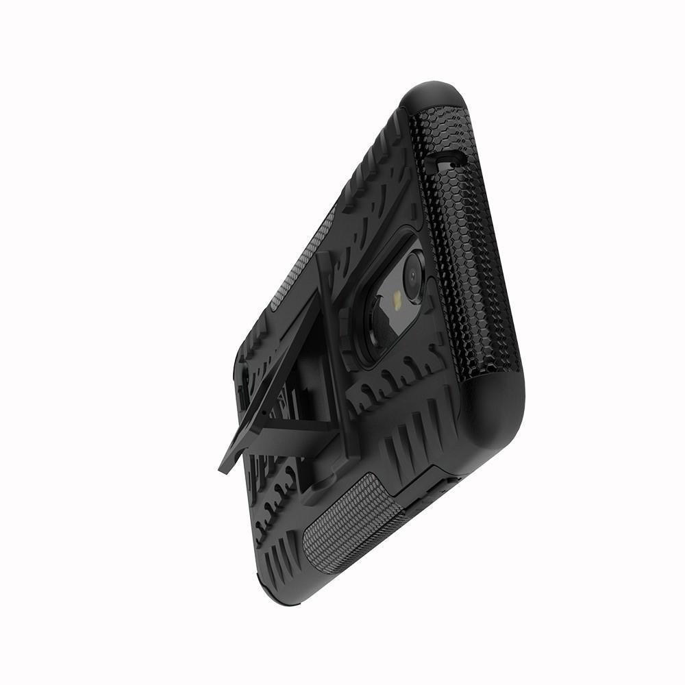 Двухкомпонентный Противоскользящий Гибридный Противоударный Чехол для LG K11 с Подставкой Черный