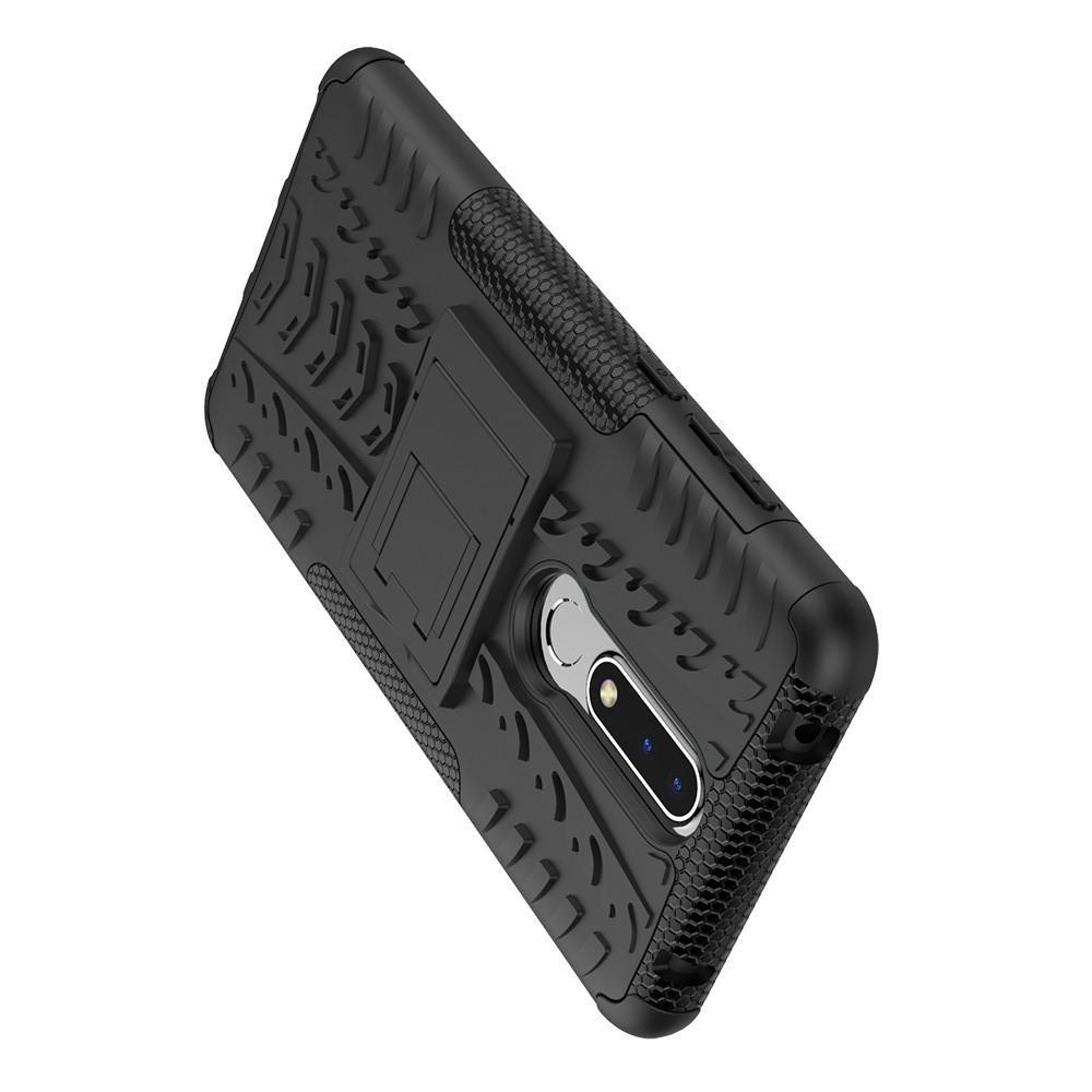 Двухкомпонентный Противоскользящий Гибридный Противоударный Чехол для Nokia 3.1 Plus с Подставкой Черный