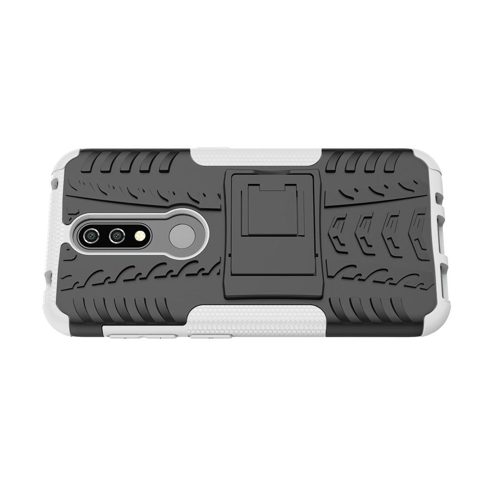 Двухкомпонентный Противоскользящий Гибридный Противоударный Чехол для Nokia 4.2 с Подставкой Белый