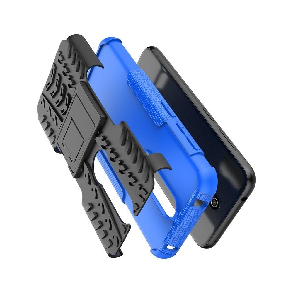 Двухкомпонентный Противоскользящий Гибридный Противоударный Чехол для Nokia 4.2 с Подставкой Синий