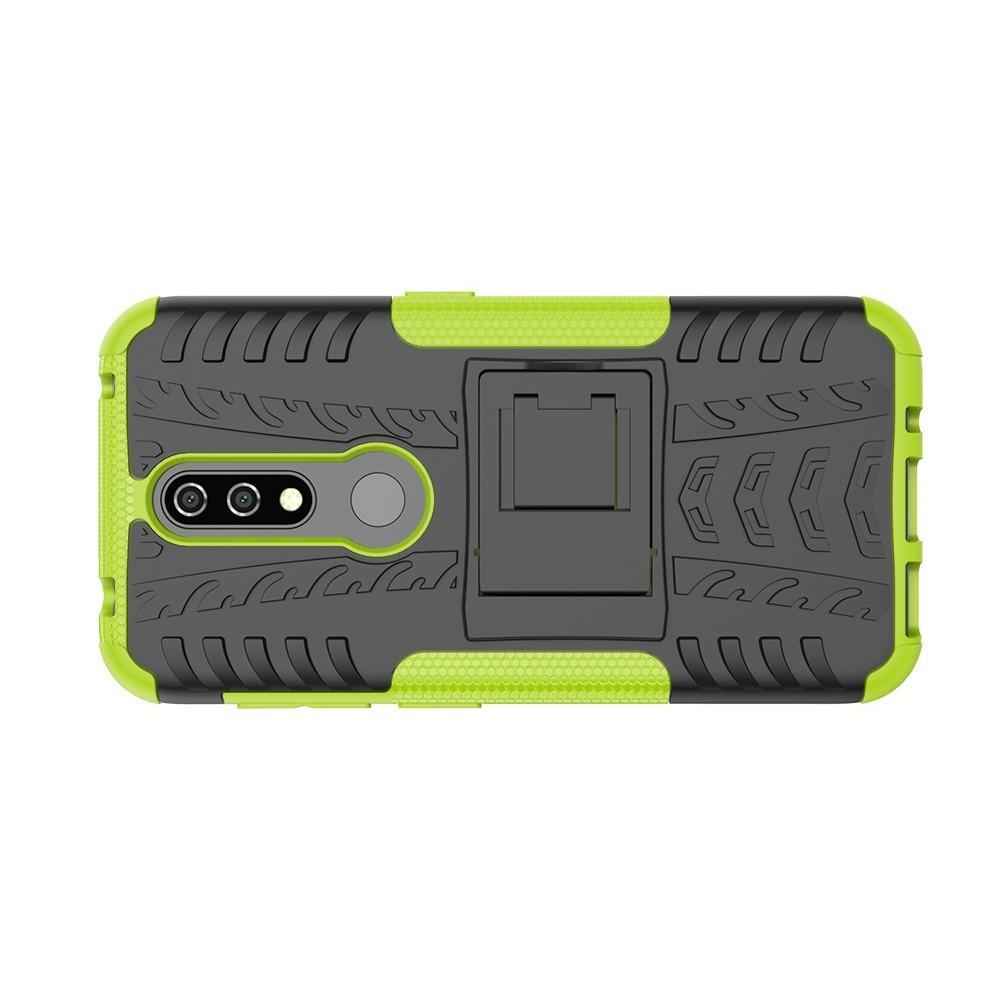 Двухкомпонентный Противоскользящий Гибридный Противоударный Чехол для Nokia 4.2 с Подставкой Зеленый