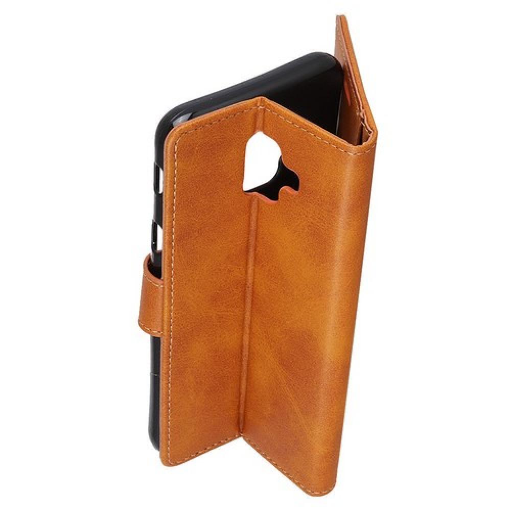Боковая Чехол Книжка Кошелек с Футляром для Карт и Застежкой Магнитом для Samsung Galaxy J6+ Коричневый