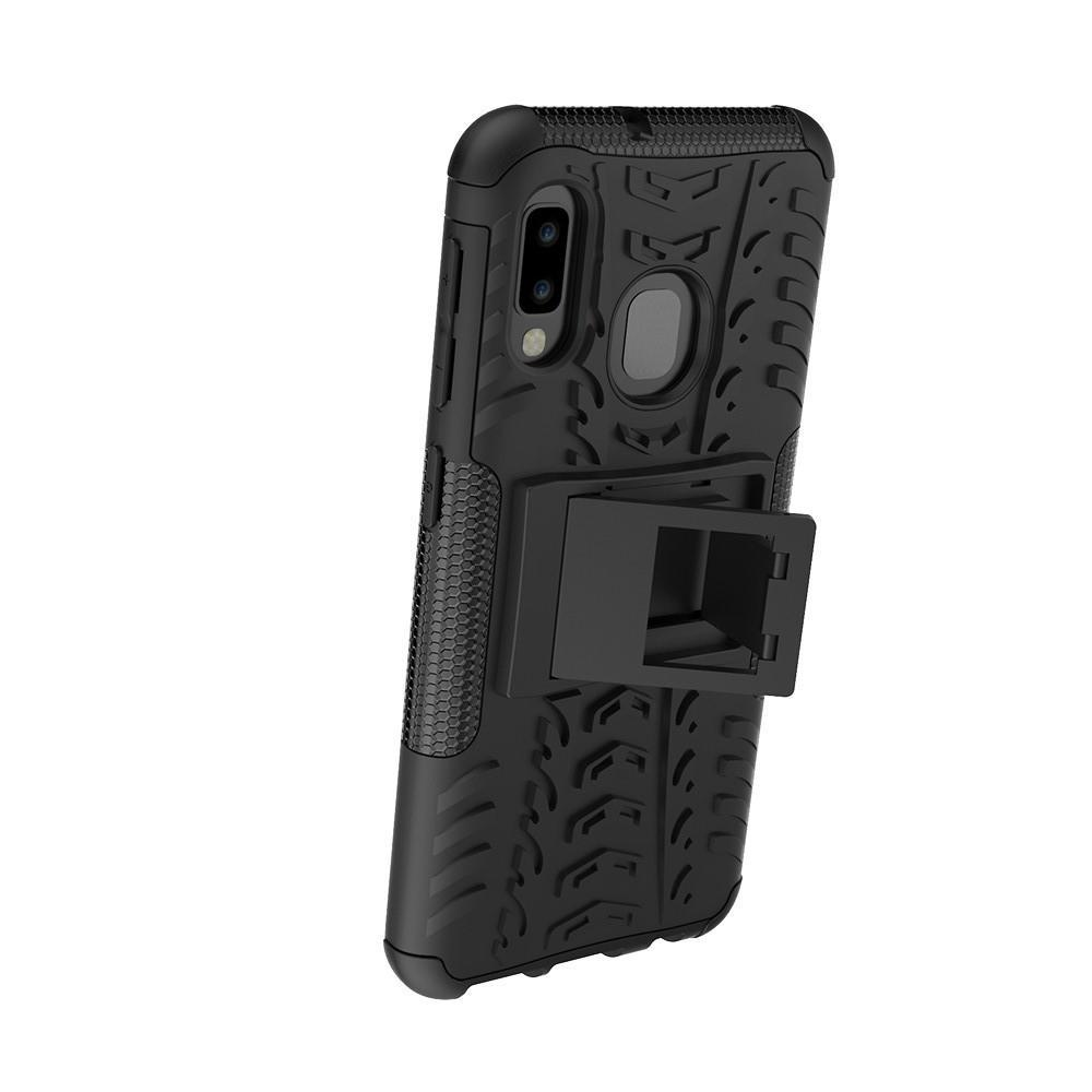 Двухкомпонентный Противоскользящий Гибридный Противоударный Чехол для Samsung Galaxy A20e с Подставкой Черный