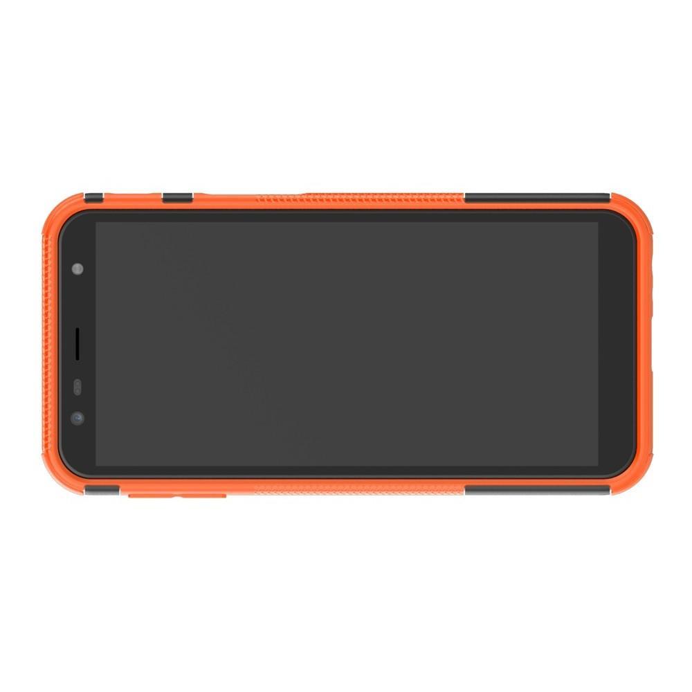 Двухкомпонентный Противоскользящий Гибридный Противоударный Чехол для Samsung Galaxy J6 Plus 2018 SM-J610F с Подставкой Оранжевый