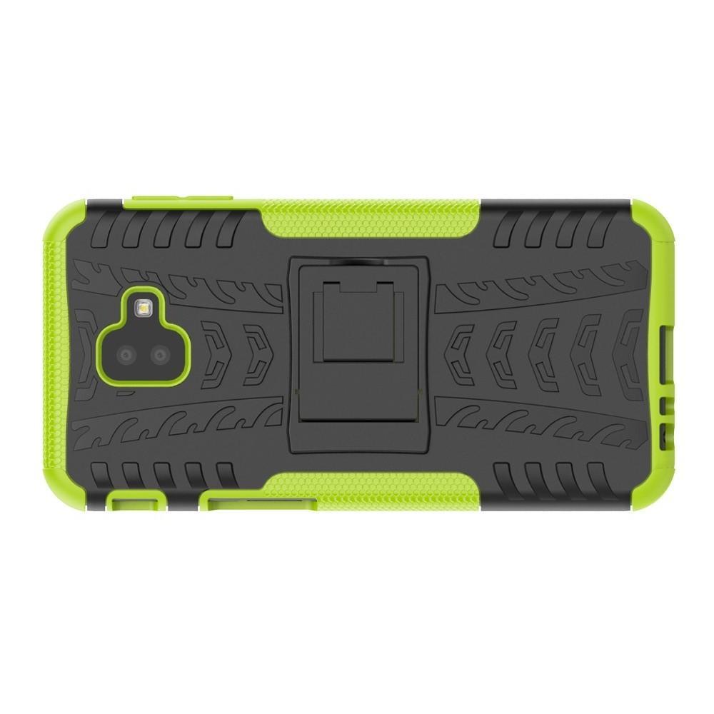 Двухкомпонентный Противоскользящий Гибридный Противоударный Чехол для Samsung Galaxy J6 Plus 2018 SM-J610F с Подставкой Зеленый