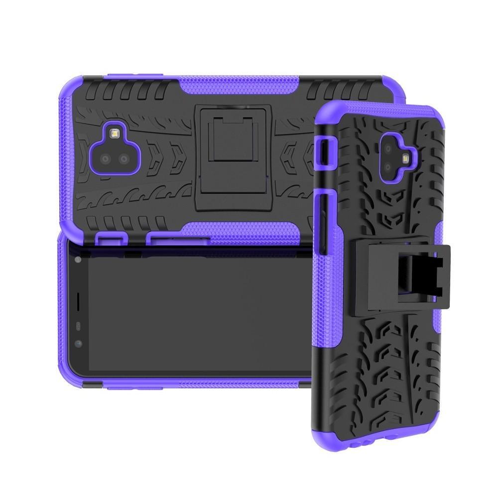 Двухкомпонентный Противоскользящий Гибридный Противоударный Чехол для Samsung Galaxy J6 Plus 2018 SM-J610F с Подставкой Фиолетовый