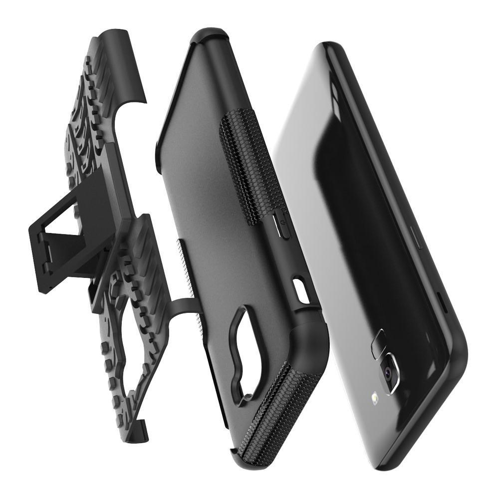 Двухкомпонентный Противоскользящий Гибридный Противоударный Чехол для Samsung Galaxy J6 SM-J600 с Подставкой Оранжевый