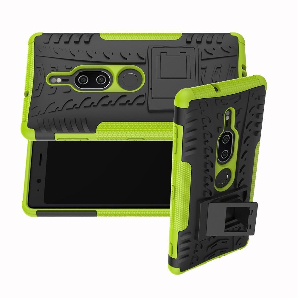 Двухкомпонентный Противоскользящий Гибридный Противоударный Чехол для Sony Xperia XZ2 Premium с Подставкой Зеленый