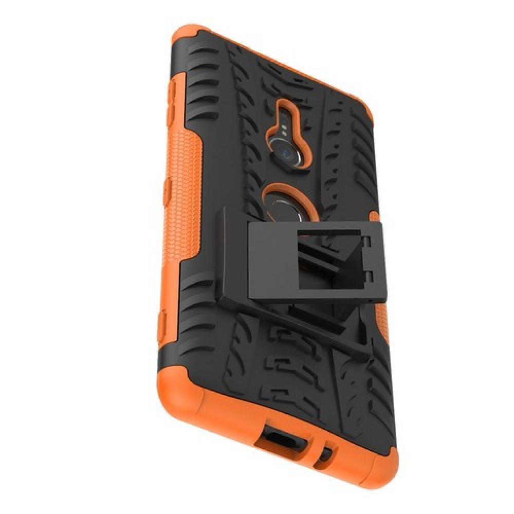 Двухкомпонентный Противоскользящий Гибридный Противоударный Чехол для Sony Xperia XZ3 с Подставкой Оранжевый