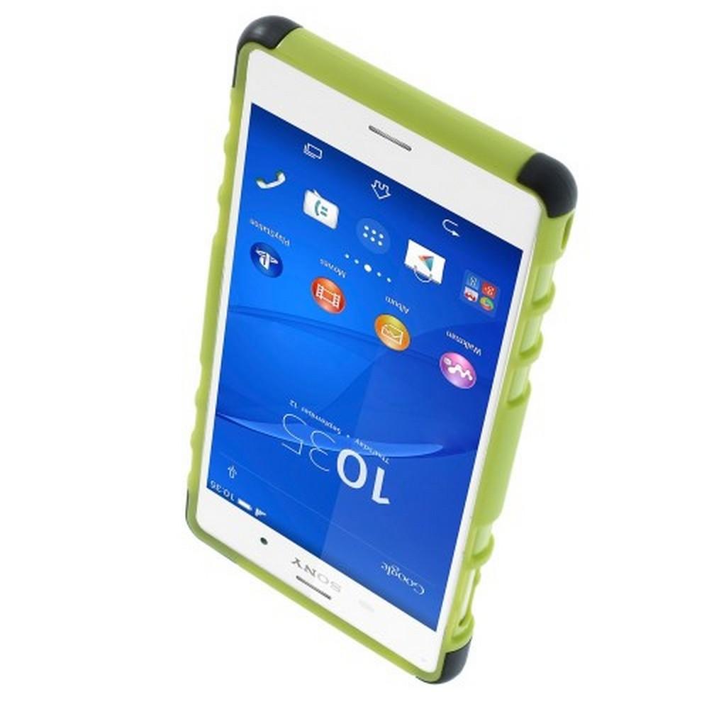 Двухкомпонентный Противоскользящий Гибридный Противоударный Чехол для Sony Xperia Z3 с Подставкой Зеленый