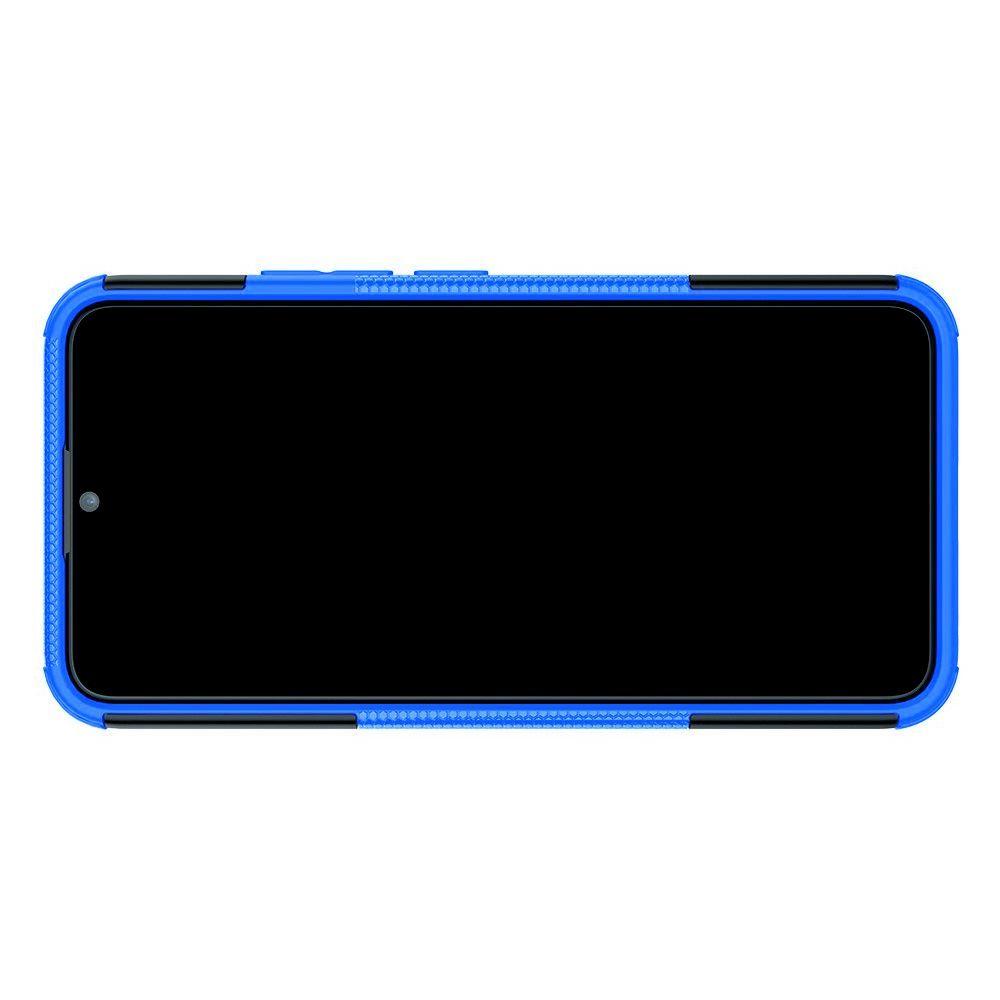 Двухкомпонентный Противоскользящий Гибридный Противоударный Чехол для Vivo Y12 / Y15 / Y17 с Подставкой Синий