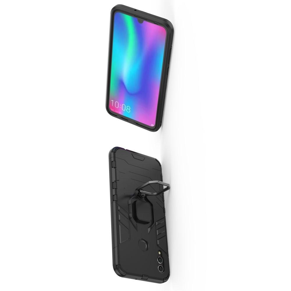 Двухслойный гибридный противоударный чехол с кольцом для пальца подставкой для Huawei Honor 10 Lite Черный