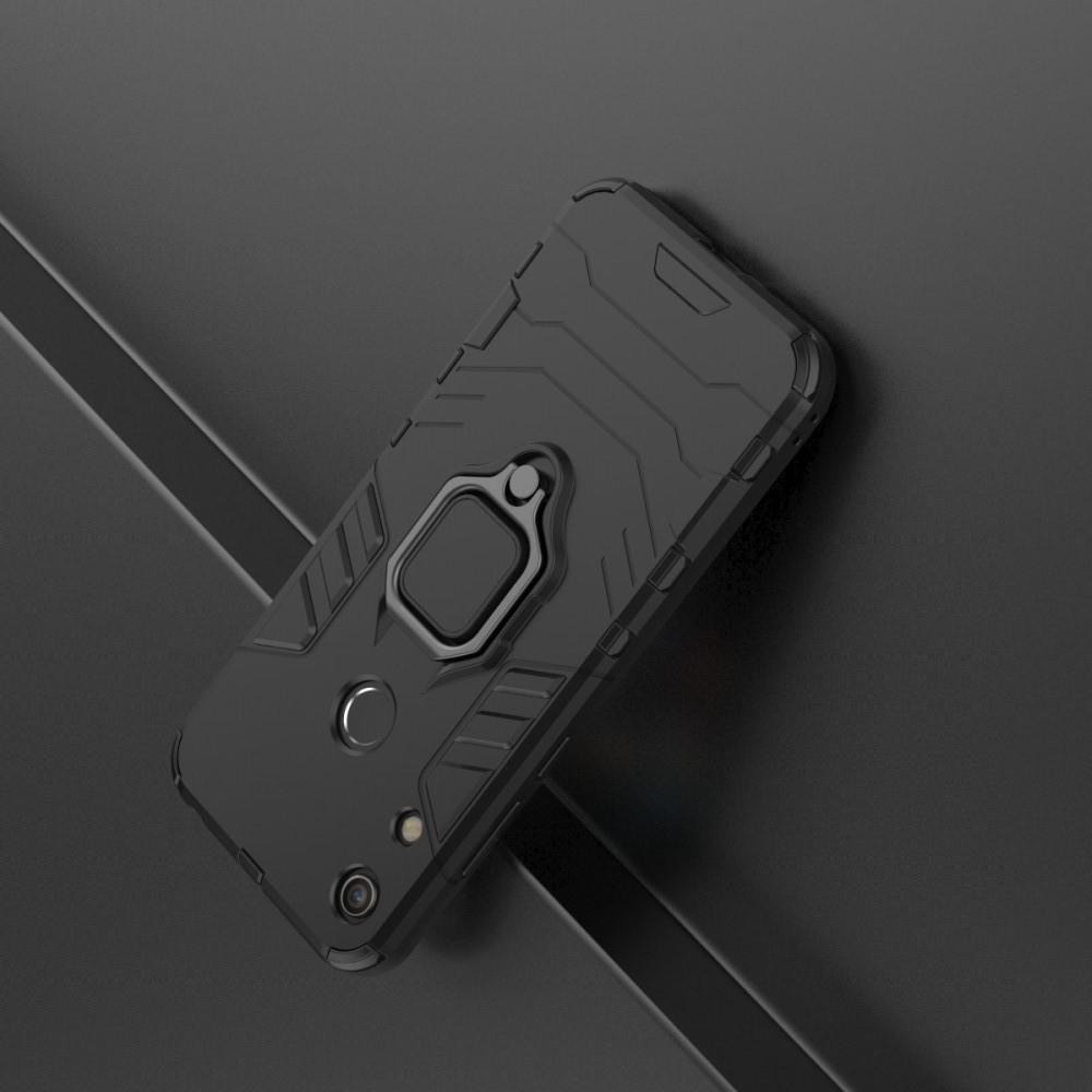 Двухслойный гибридный противоударный чехол с кольцом для пальца подставкой для Huawei Honor 8A Черный