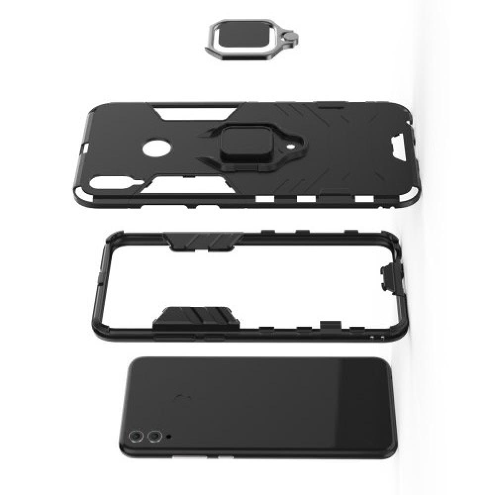 Двухслойный гибридный противоударный чехол с кольцом для пальца подставкой для Huawei Honor 8X Черный