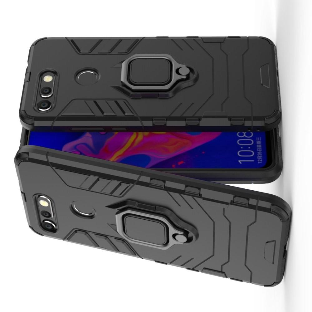 Двухслойный гибридный противоударный чехол с кольцом для пальца подставкой для Huawei Honor View 20 (V20) Черный