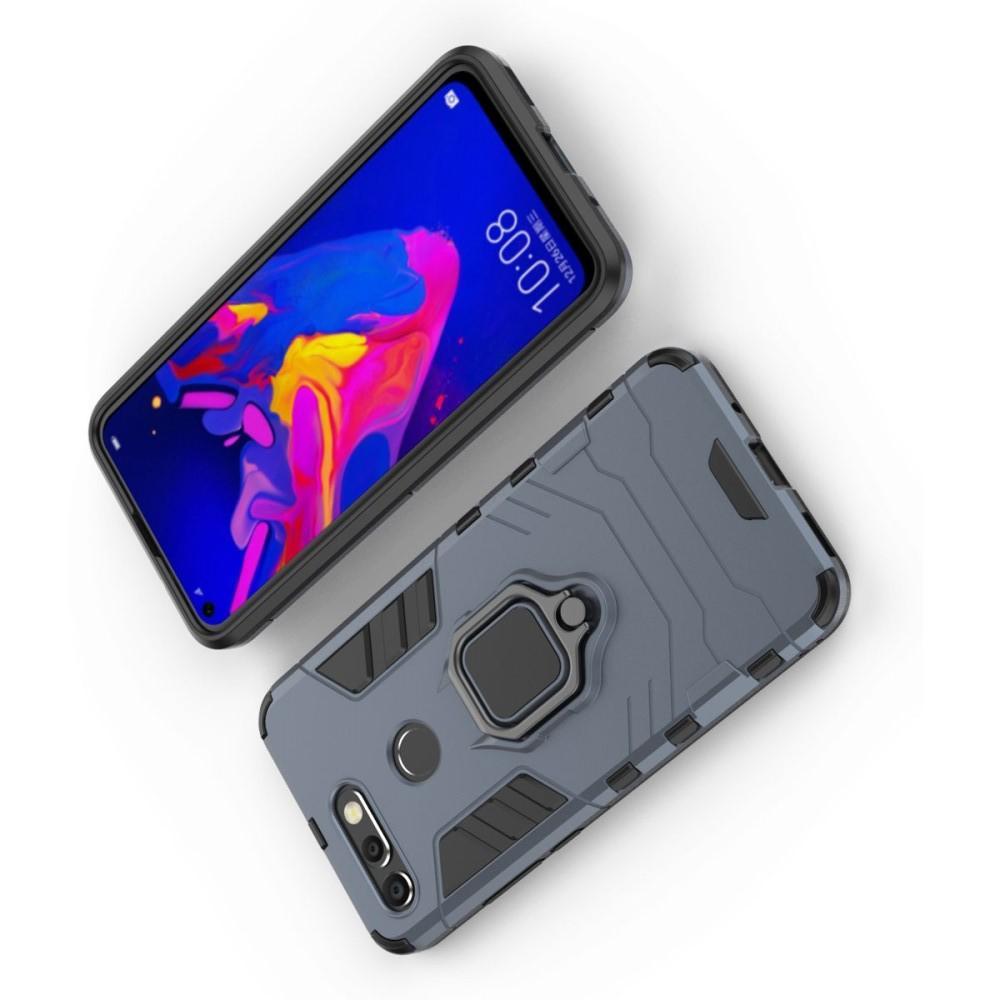 Двухслойный гибридный противоударный чехол с кольцом для пальца подставкой для Huawei Honor View 20 (V20) Серый