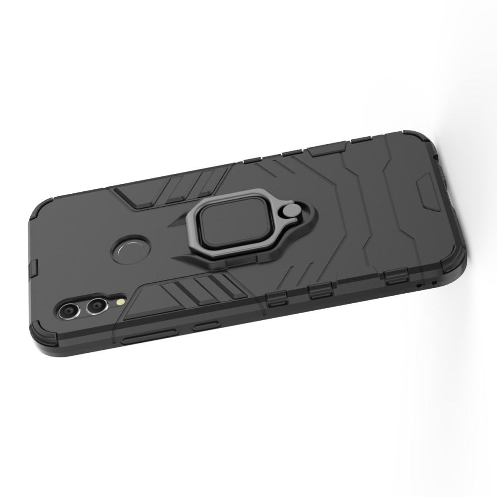 Двухслойный гибридный противоударный чехол с кольцом для пальца подставкой для Huawei P Smart 2019 Черный