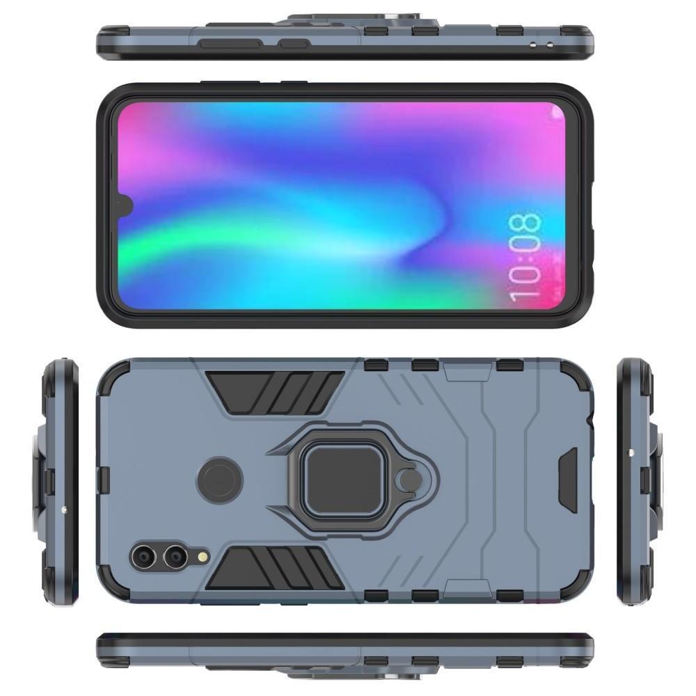 Двухслойный гибридный противоударный чехол с кольцом для пальца подставкой для Huawei P Smart 2019 Серый