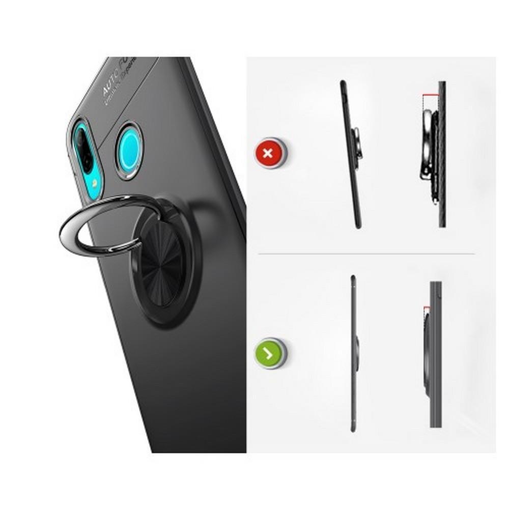 Силиконовый Чехол для Магнитного Держателя с Кольцом для Пальца Подставкой для Huawei P Smart 2019 Черный