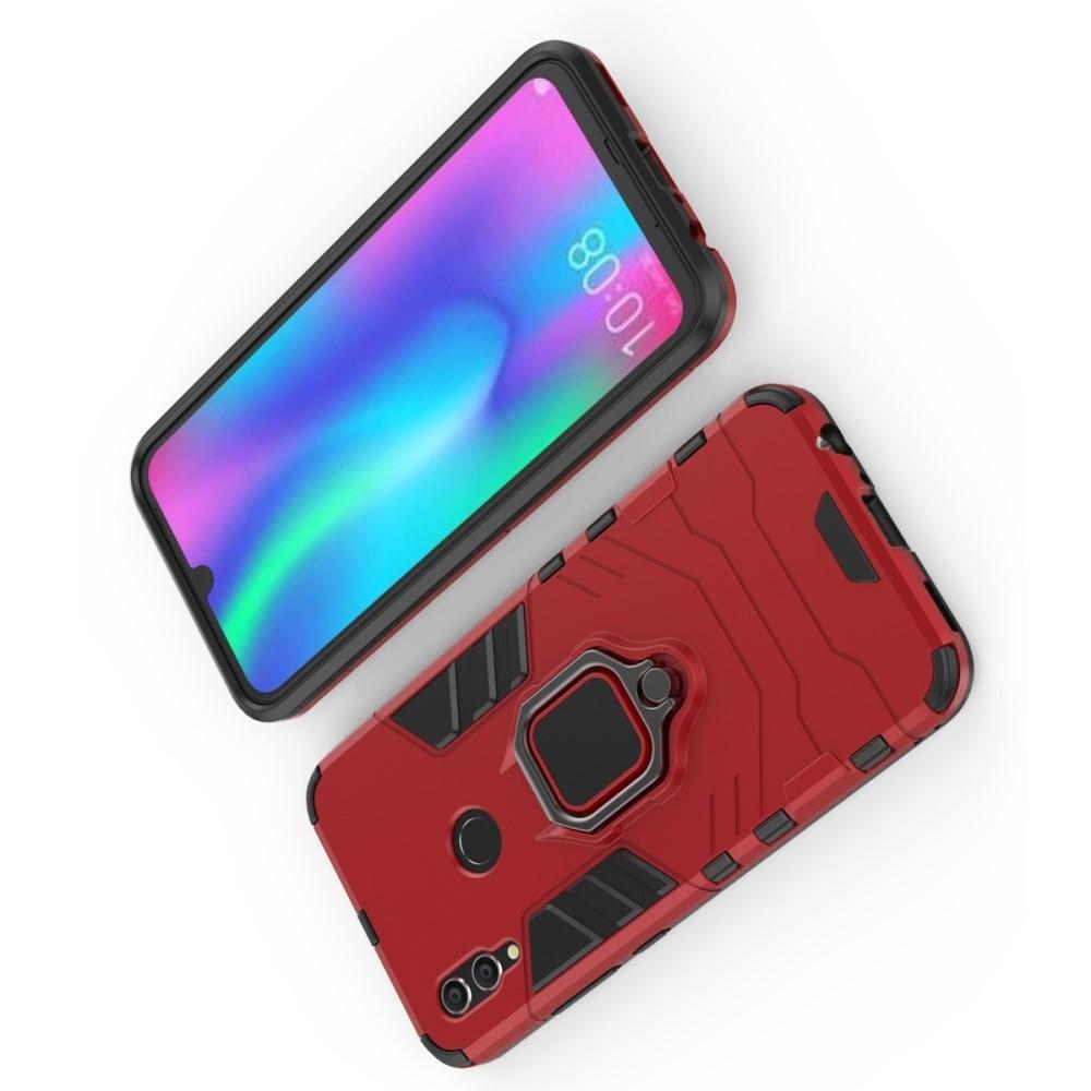 Двухслойный гибридный противоударный чехол с кольцом для пальца подставкой для Huawei P Smart 2019 Красный