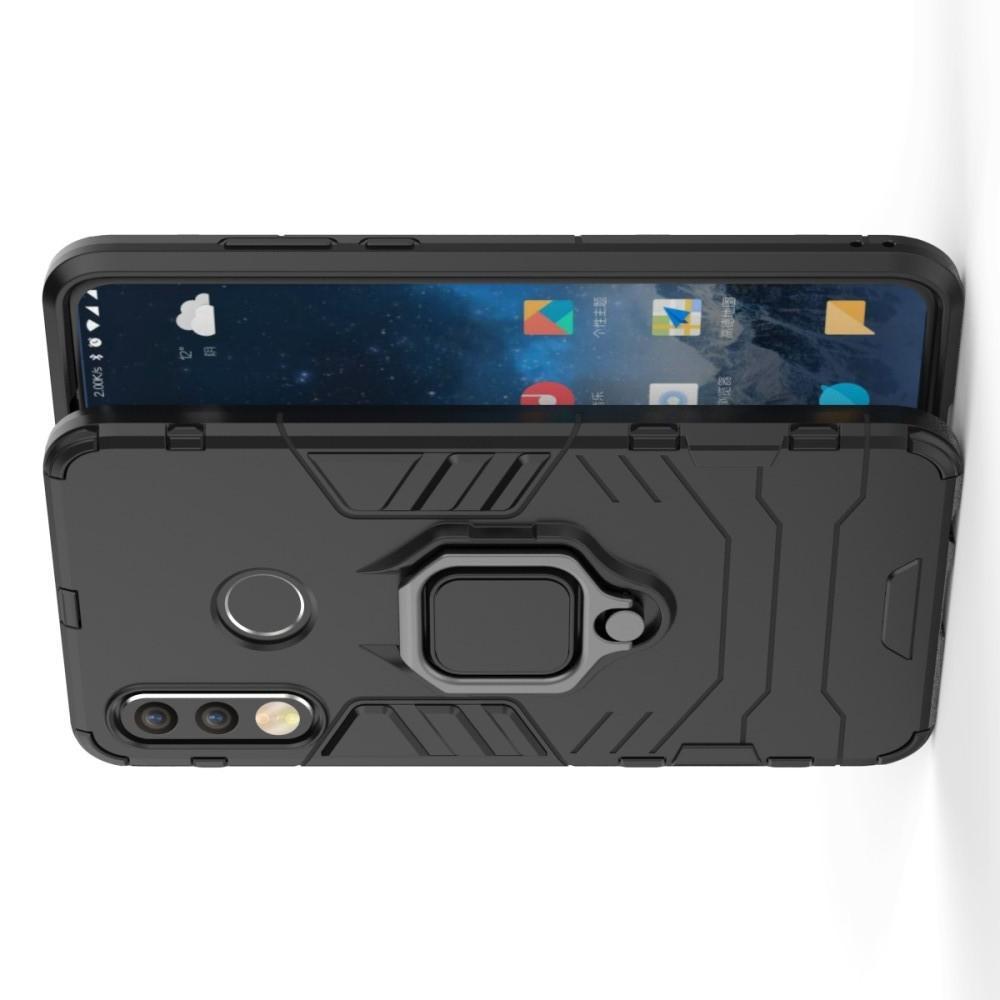 Двухслойный гибридный противоударный чехол с кольцом для пальца подставкой для Huawei P30 Lite Черный