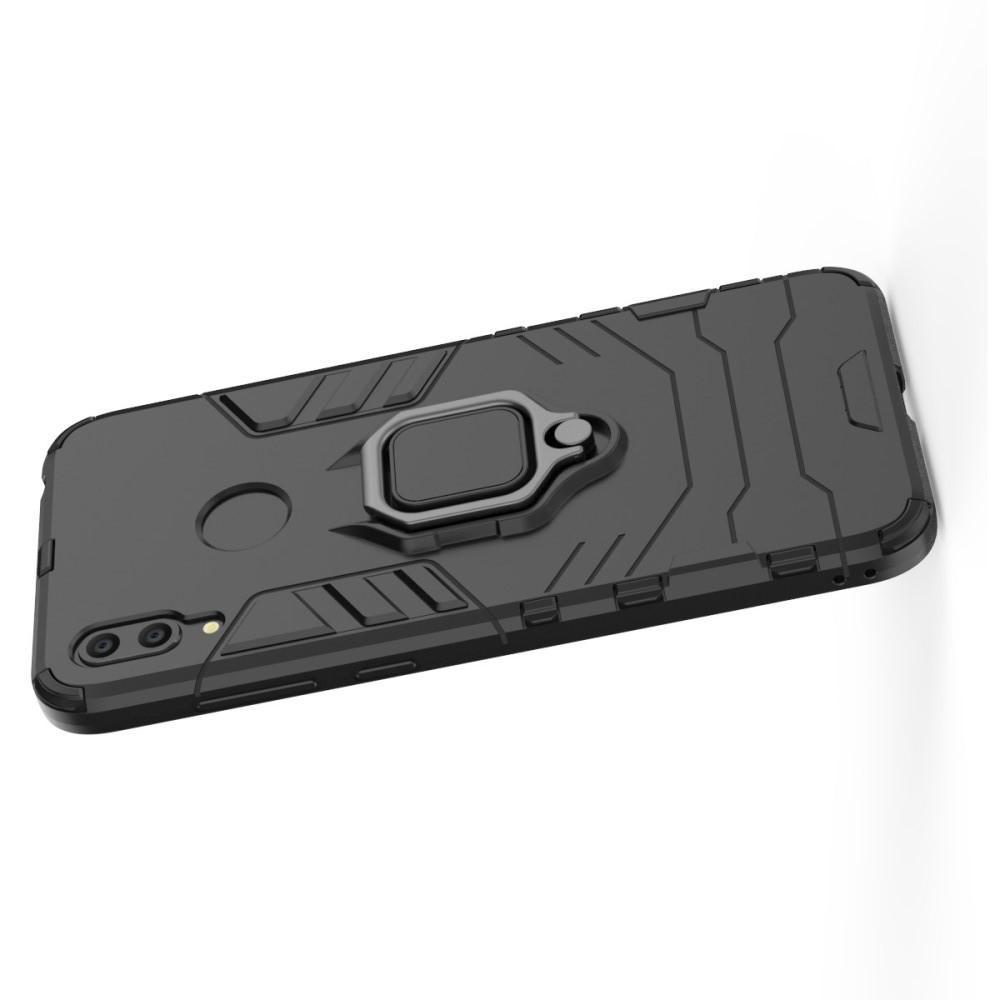 Двухслойный гибридный противоударный чехол с кольцом для пальца подставкой для Huawei Y7 2019 Черный