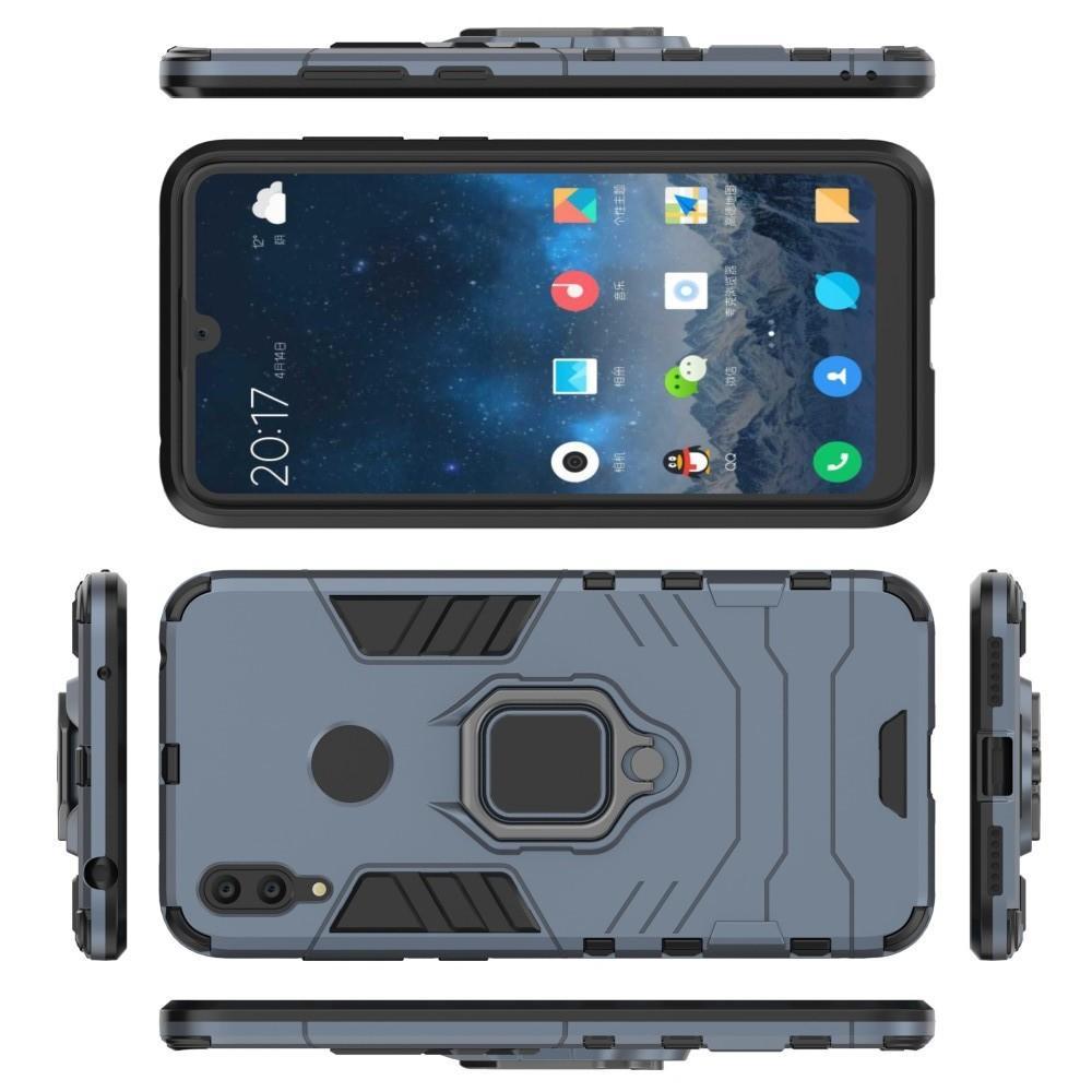 Двухслойный гибридный противоударный чехол с кольцом для пальца подставкой для Huawei Y7 2019 Серый