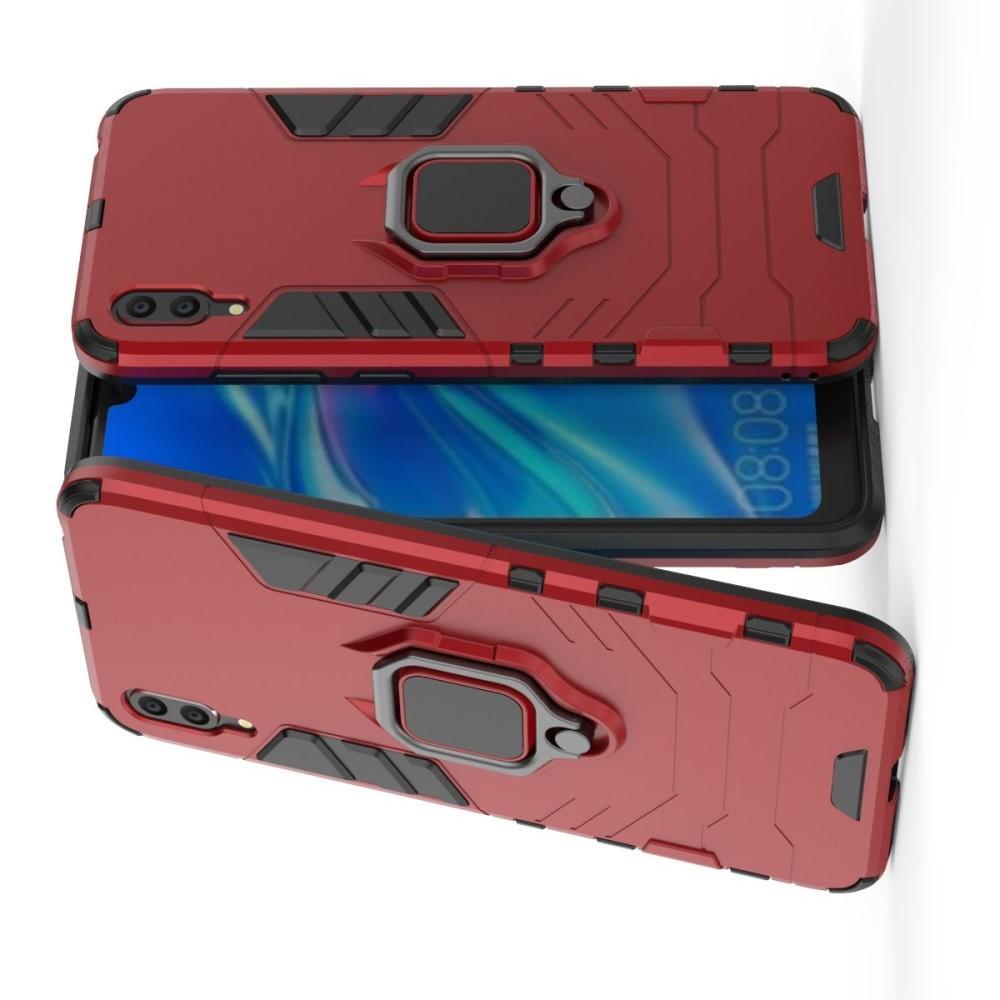 Двухслойный гибридный противоударный чехол с кольцом для пальца подставкой для Huawei Y7 Pro 2019 Красный