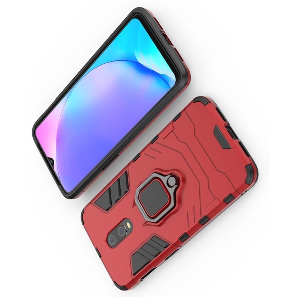 Двухслойный гибридный противоударный чехол с кольцом для пальца подставкой для OnePlus 7 Красный