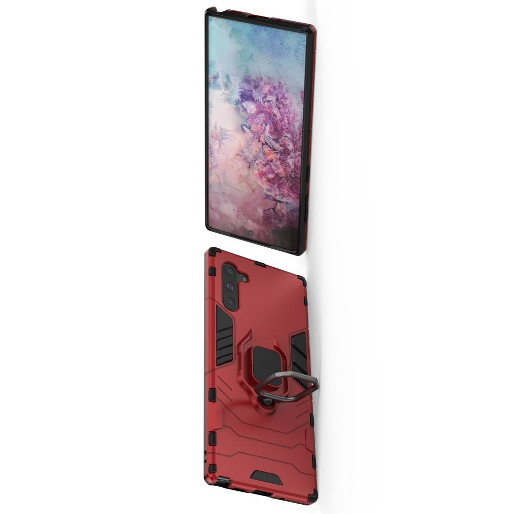 Двухслойный гибридный противоударный чехол с кольцом для пальца подставкой для Samsung Galaxy Note 10 Красный