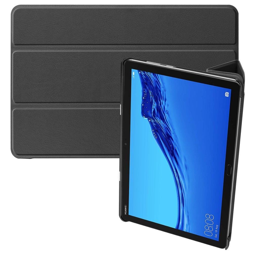 Двухсторонний Чехол Книжка для планшета Huawei Mediapad M5 Lite 10 Искусственно Кожаный с Подставкой Черный