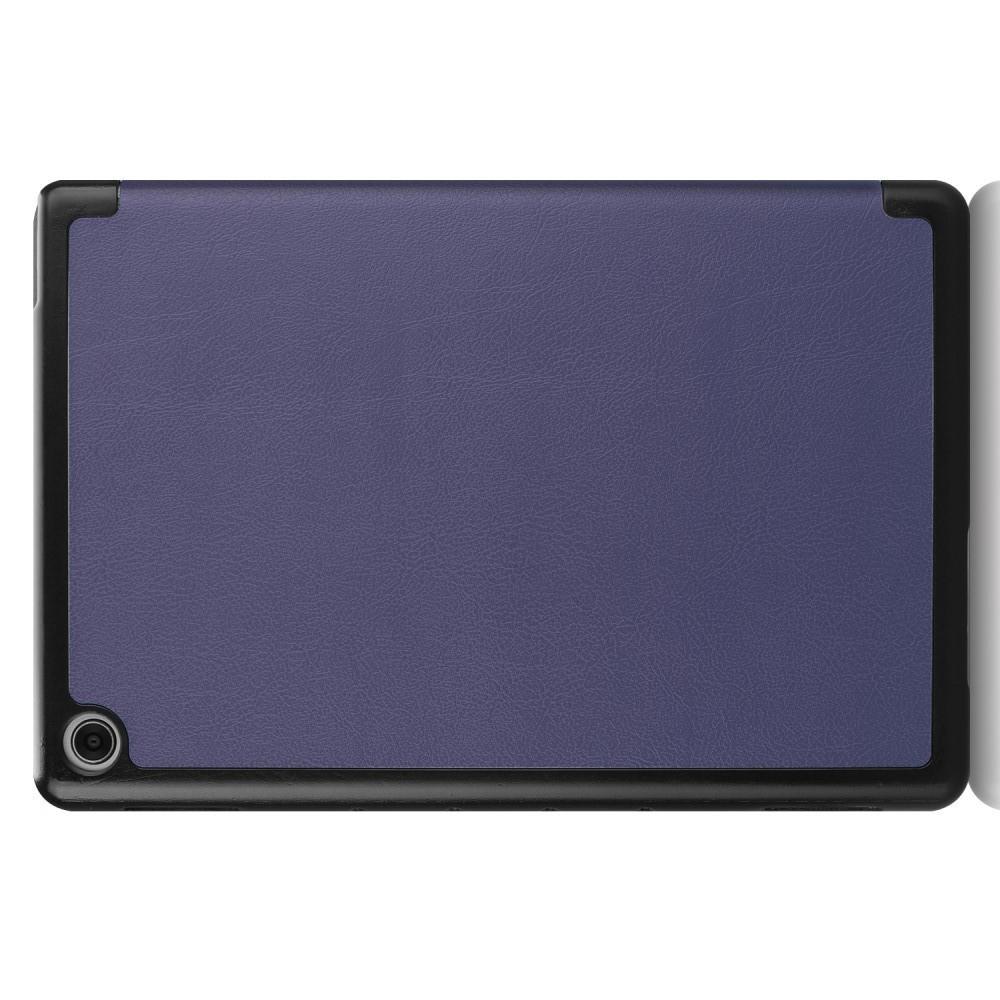 Двухсторонний Чехол Книжка для планшета Huawei Mediapad M5 Lite 10 Искусственно Кожаный с Подставкой Синий