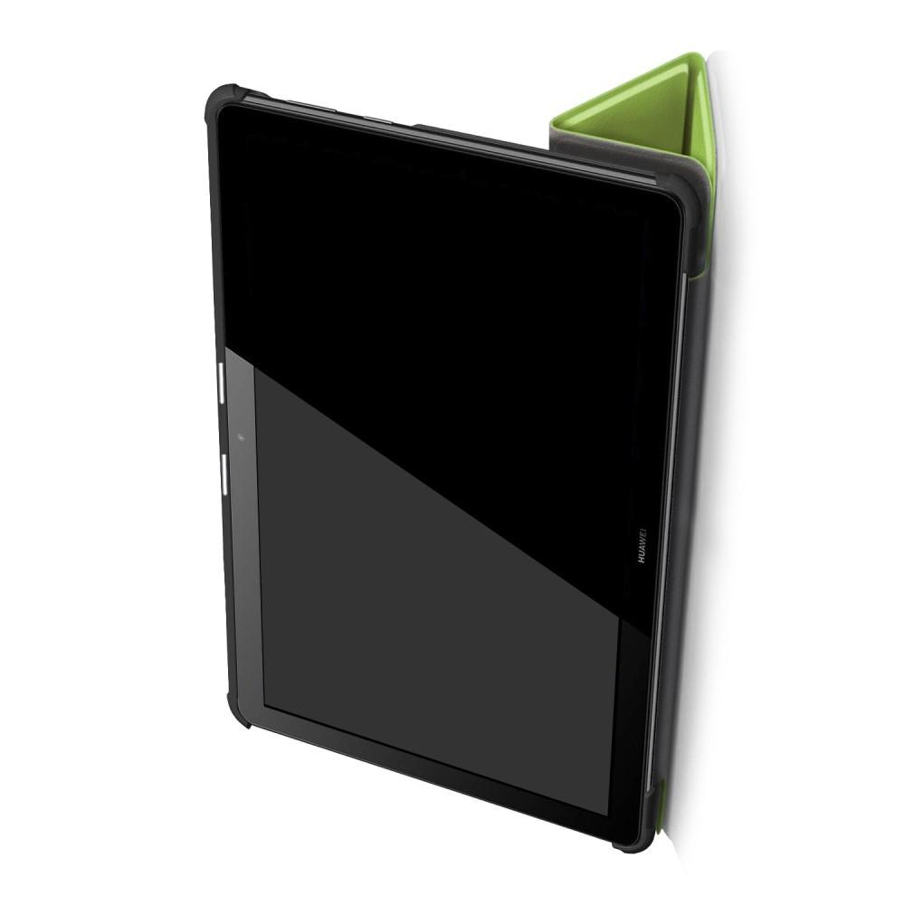 Двухсторонний Чехол Книжка для планшета Huawei Mediapad T5 10 Искусственно Кожаный с Подставкой Зеленый