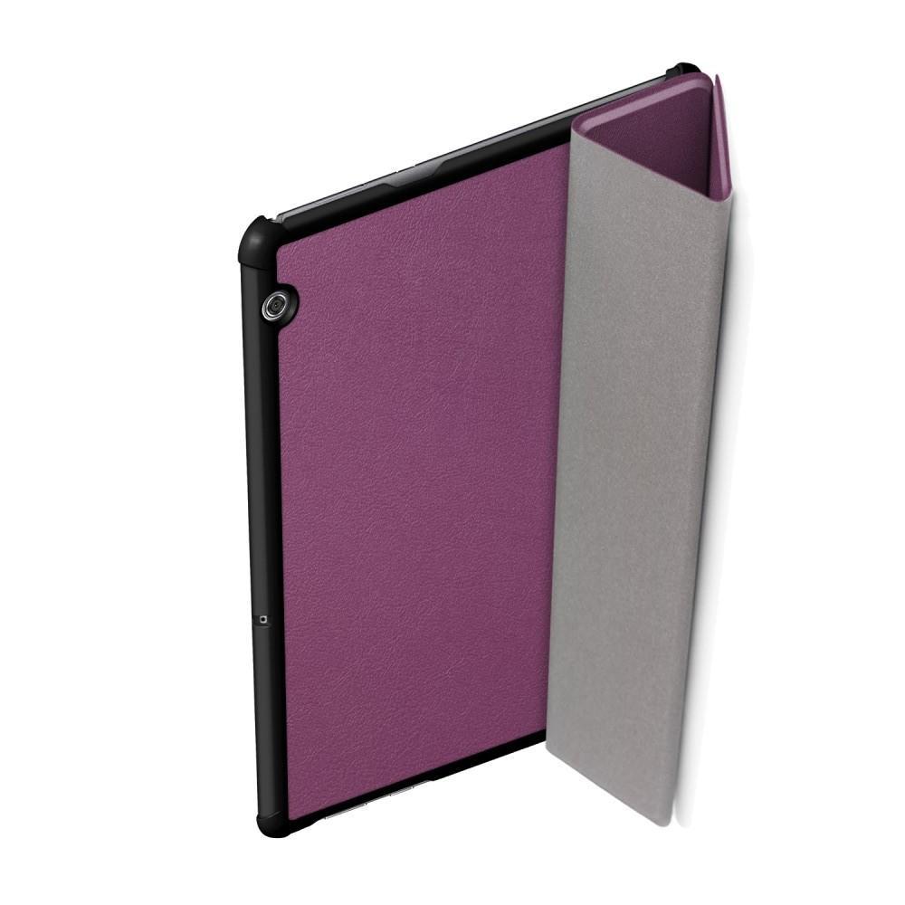 Двухсторонний Чехол Книжка для планшета Huawei Mediapad T5 10 Искусственно Кожаный с Подставкой Фиолетовый