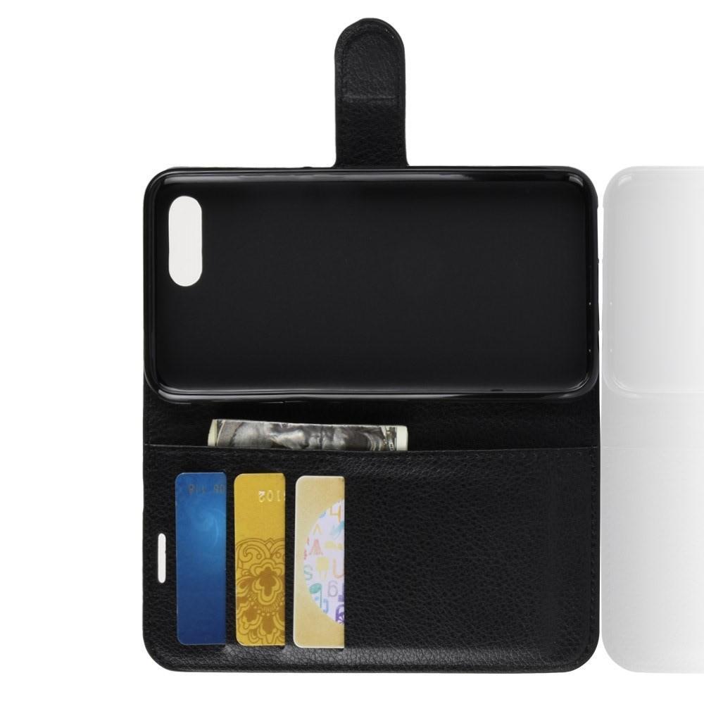 Флип чехол книжка с кошельком подставкой отделениями для карт и магнитной застежкой для Huawei Honor 10 Черный