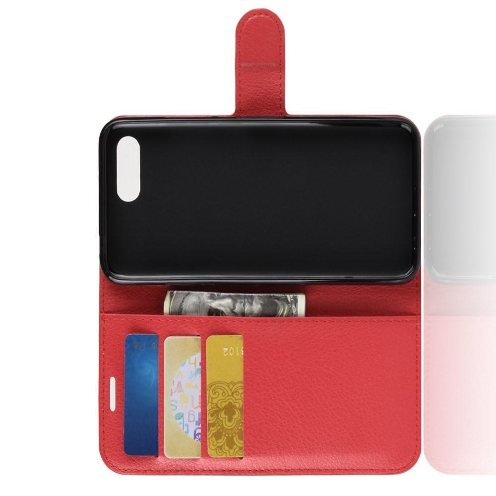 Флип чехол книжка с кошельком подставкой отделениями для карт и магнитной застежкой для Huawei Honor 10 Красный