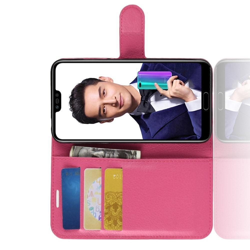 Флип чехол книжка с кошельком подставкой отделениями для карт и магнитной застежкой для Huawei Honor 10 Розовый