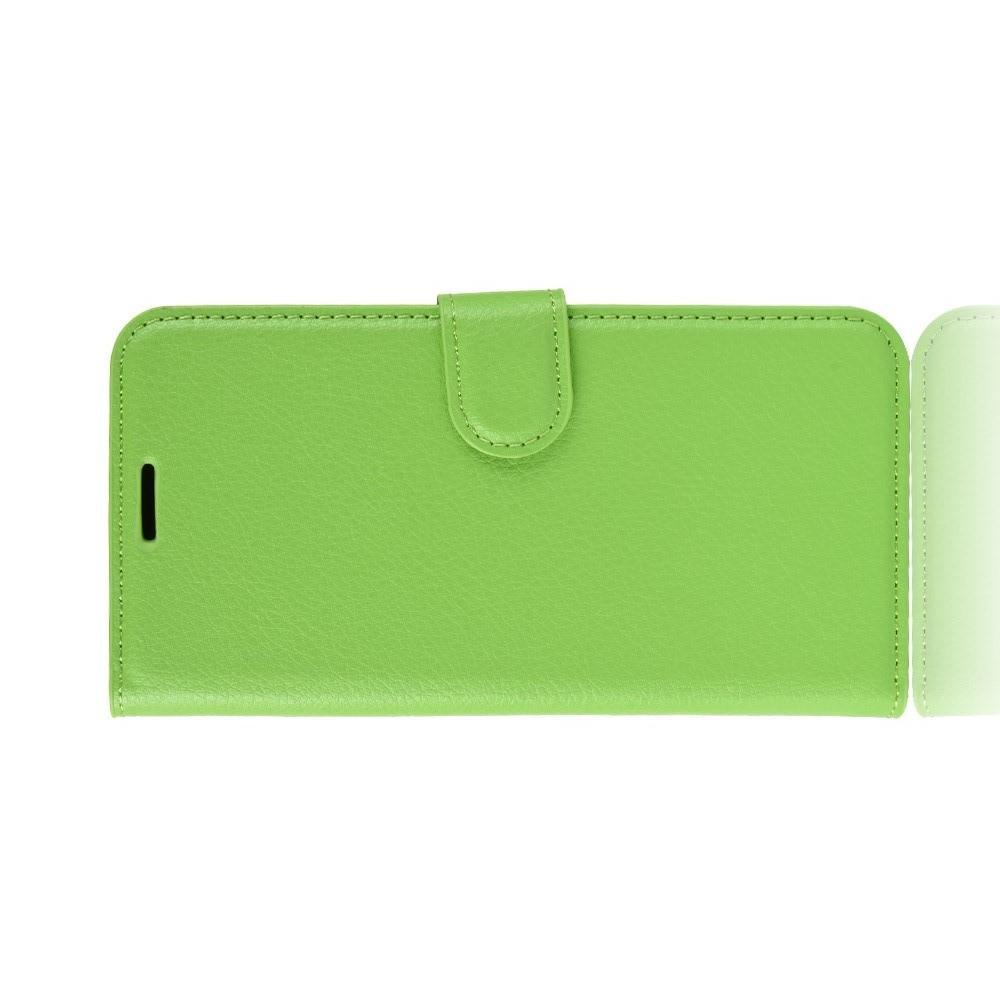 Флип чехол книжка с кошельком подставкой отделениями для карт и магнитной застежкой для Huawei Honor 10 Зеленый