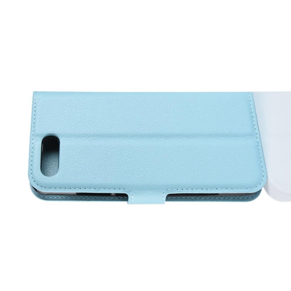 Флип чехол книжка с кошельком подставкой отделениями для карт и магнитной застежкой для Huawei Honor 10 Голубой