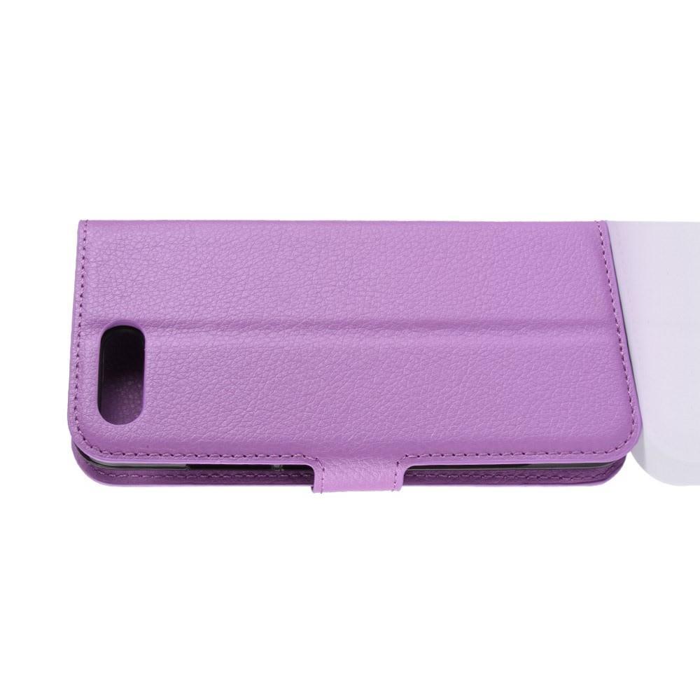 Флип чехол книжка с кошельком подставкой отделениями для карт и магнитной застежкой для Huawei Honor 10 Фиолетовый