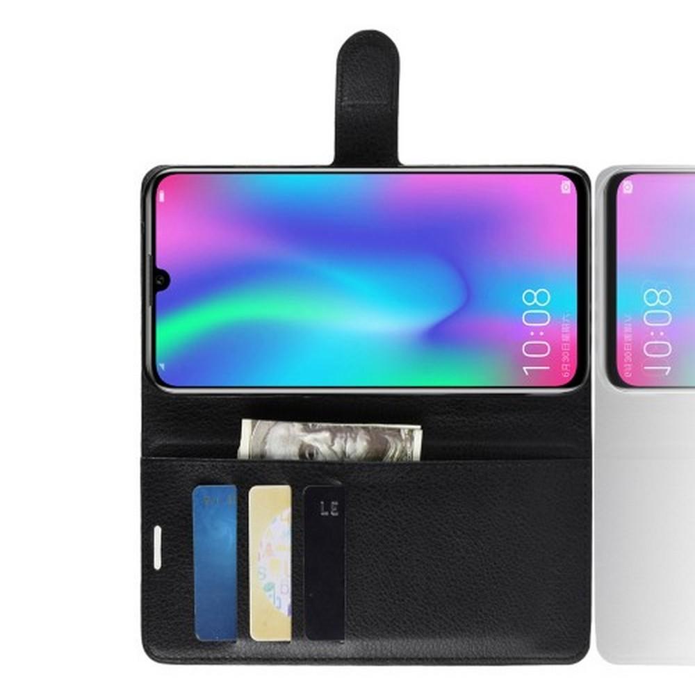 Флип чехол книжка с кошельком подставкой отделениями для карт и магнитной застежкой для Huawei Honor 10 Lite Черный