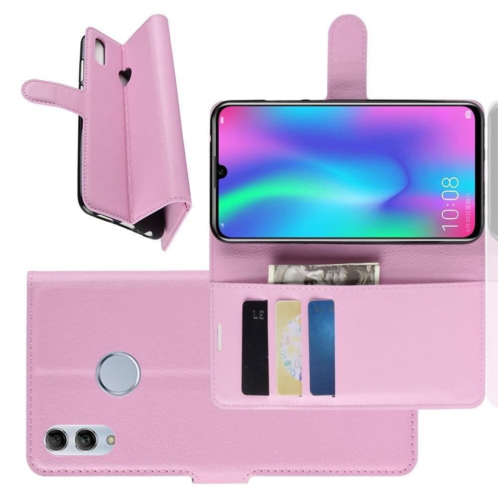Флип чехол книжка с кошельком подставкой отделениями для карт и магнитной застежкой для Huawei Honor 10 Lite Фиолетовый