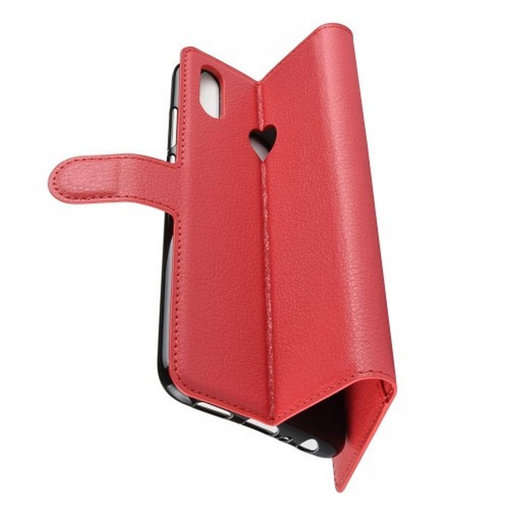 Флип чехол книжка с кошельком подставкой отделениями для карт и магнитной застежкой для Huawei Honor 10 Lite Красный
